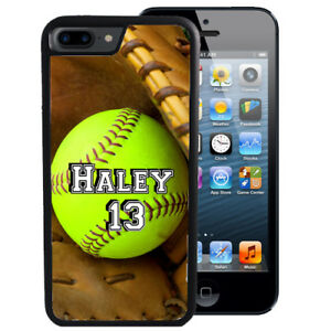 new style 2cda0 a67c0 Details about PERSONALIZED RUBBER CASE FOR iPHONE XR XS MAX 8 7 6 PLUS  SOFTBALL GIRLS SPORT