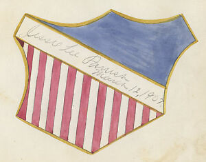 ANTIQUE-1874-AMERICAN-FOLK-ART-FLAG-SHIELD-PAINTING-OWENSBORO-KY-PARRISH-STIVERS