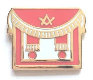 Details about Masonic Regalia Red Apron Gold Plated Enamel Lapel Pin Badge