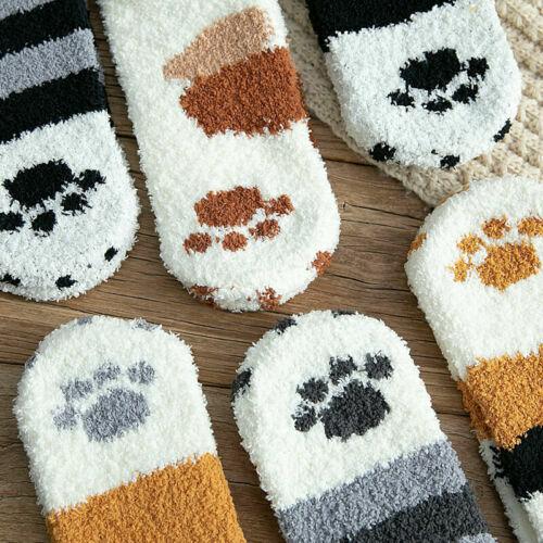 Women Girls Cute Cat Claws Plush Fuzzy Fleece Warm Soft Floor Sleep Indoor Socks