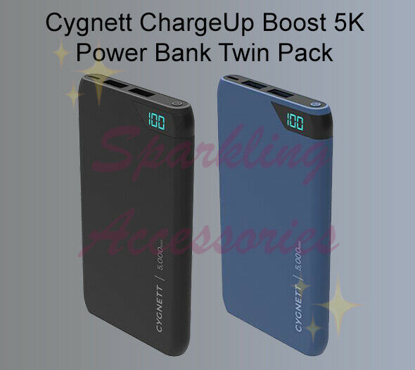 NEW TWIN PACK Cygnett ChargeUp Boost 5K 5,000 mAh Portable Power Bank Gift Set!