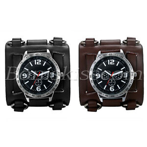 Men-039-s-Wide-Leather-Strap-Buckle-Sport-Quartz-Decoration-Wrist-Watch-Cuff-Bangle