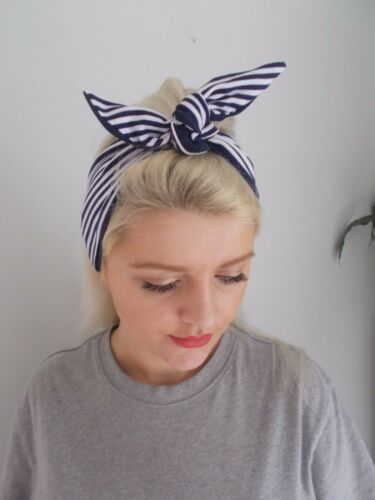 HEAD SCARF HAIR NAVY BLUE STRIPED NAUTICAL BUNNY LINED TIE BOW SAILOR band swing