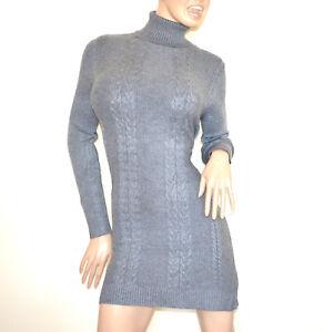 3b2d67cbf7fa Caricamento dell immagine in corso ABITO-vestito-maglia-GRIGIO-donna- maglione-collo-alto-
