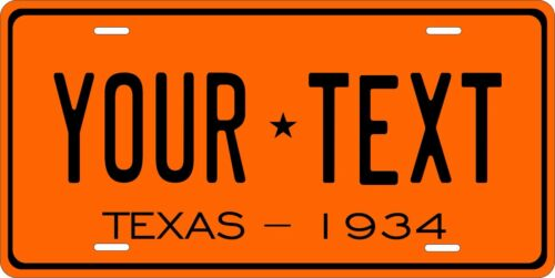 Texas 1934 License Plate Personalized Custom Car Auto Bike Motorcycle Moped