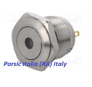 PULSANTE ANTIVANDALO STAGNO IP67 acciaio inox D= 16mm con PUNTO LED VERDE 12V