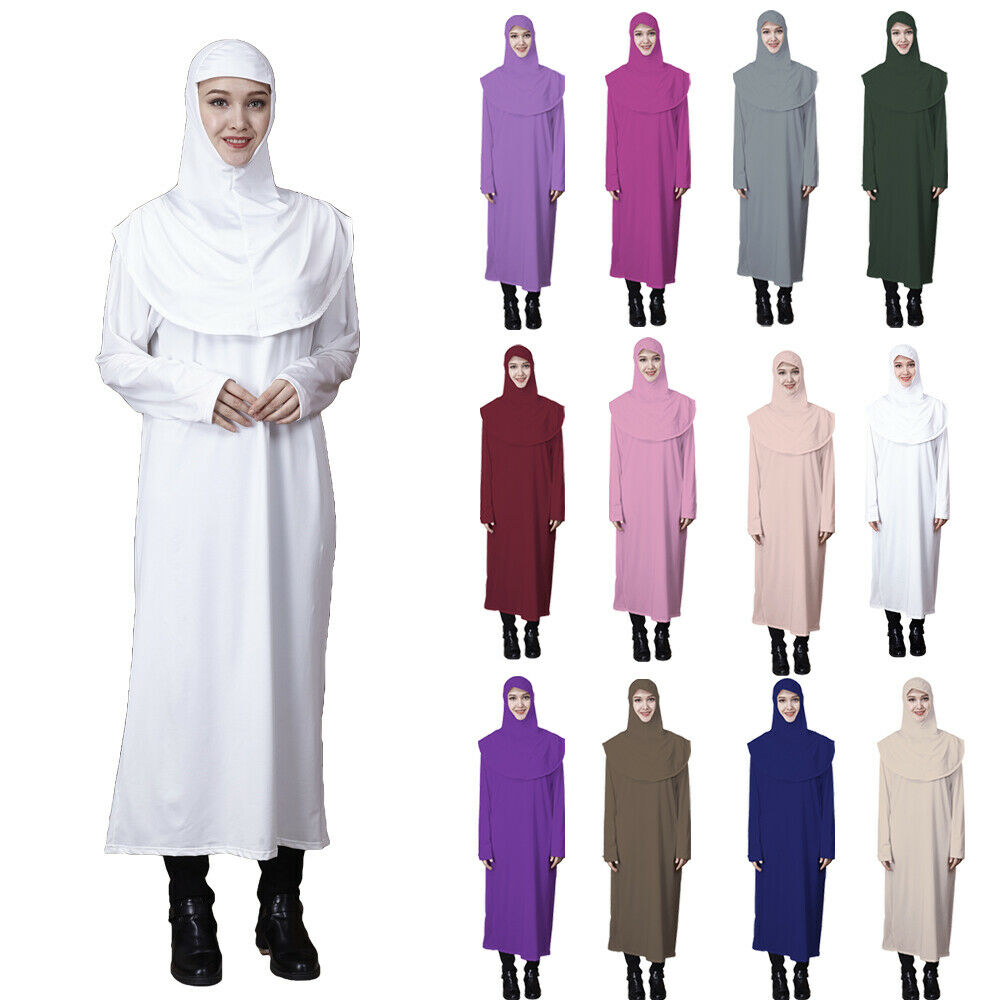 Muslim Women Abaya One Piece Prayer Dress Hijab Jilbab Islamic Overhead Kaftan