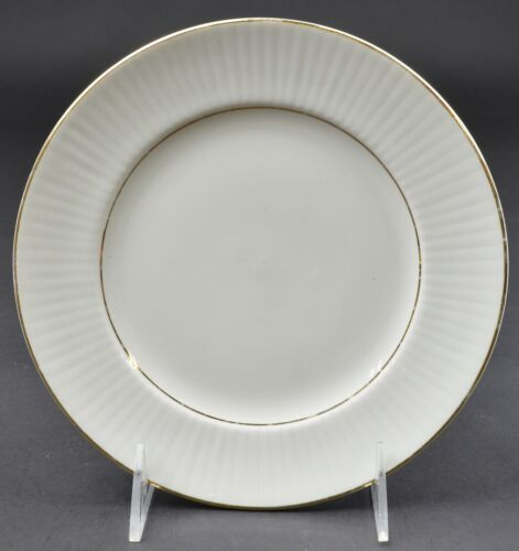 """Gibson Designs Claremont Gold Pattern Salad Plate 7.625/"""" Wide Embossed Border"""