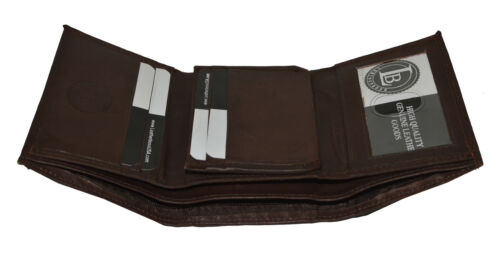 Brand New Mens TriFold Leather Wallet Cowhide Leather Dark Brown by Leatherboss