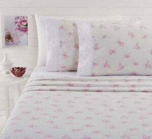 Lyla Lavender Flannelette Sheet Set100/% CottonCuffed /& PipedKing