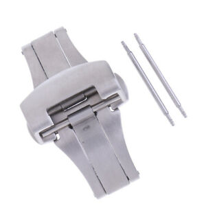 Deployment-Buckle-Clasp-Watch-Band-Strap-Brushed-Steel-Fold-Oval-Butterfly