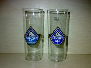 2-Glaeser-Bierglaeser-HANNEN-ALT-0-2-l-Golddruck-70s-80s-KULT-TOP-LOOK