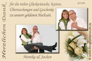 Details Zu Dankeskarten Goldene Hochzeit Danksagungen Goldhochzeit Foto Kuverts