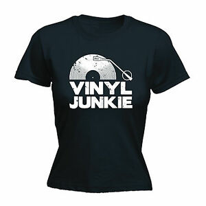 Image Is Loading Vinyl Junkie White Logo WOMENS T SHIRT Tee