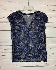 Joie Women's S Small Blue Floral 100% Silk Short Sleeve Spring Summer Top Blouse