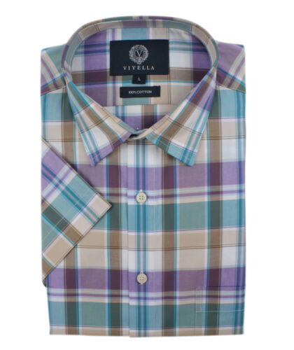 Short Viyella Colour Sleeve Full Shirt Lilac Check aaFqg6Ow