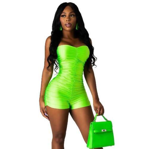 Woman Off Shoulder Short Jumpsuit Solid Color Sleeveless Fold Short Romper S-XL