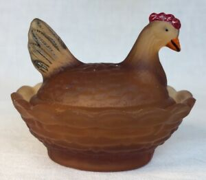 Boyd-Art-Glass-Early-Covered-Rooster-Chick-Salt-Rosewood-94-Made-5-13-1988