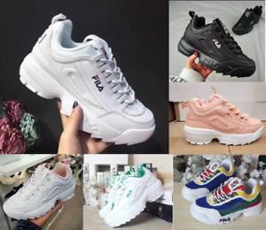 Donna-FILA-Sneakers-Sport-Fitness-Gym-Sneakers-Scarpe-da-corsa-casual-basse-pell