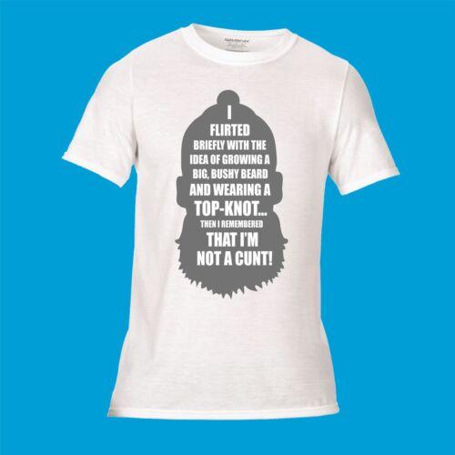 "/""Top Knot/"" Printed T-Shirt Hair Style Beard Funny Rude anti Man bun novelty joke"