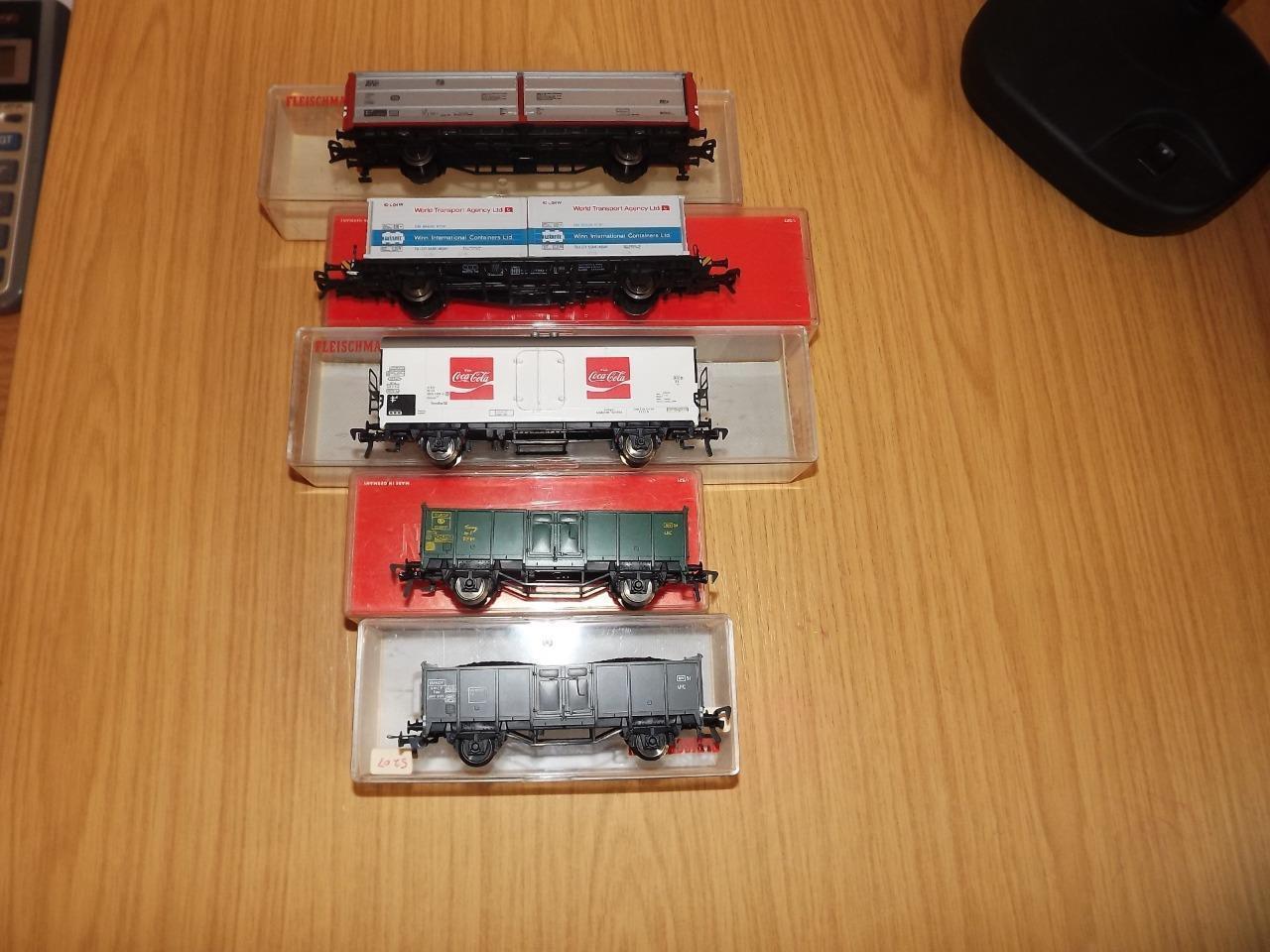 Ab18  Fleischmann Ho Gauge Freight Wagons x 5