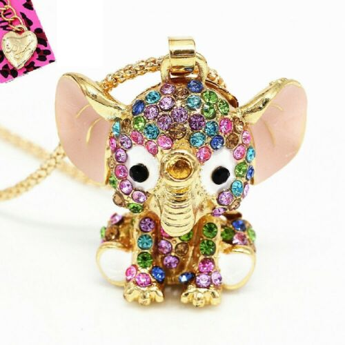Betsey Johnson Baby Elephant 3D Gold Pendant Chain Necklace Free Gift Bag