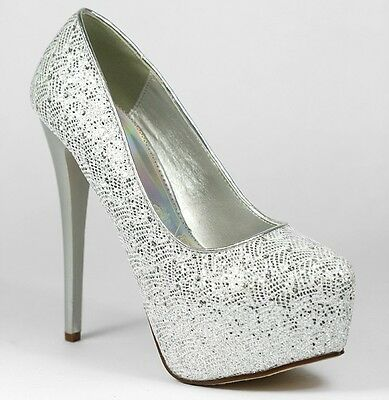 Silver White Glitter High Stiletto Heel Platform Almond Toe Pumps Paprika Enter