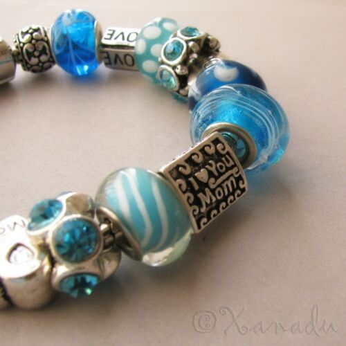 Mom Loves Turquoise European Charm Bracelet Mom Mommy Mother Jewelry Gift Idea