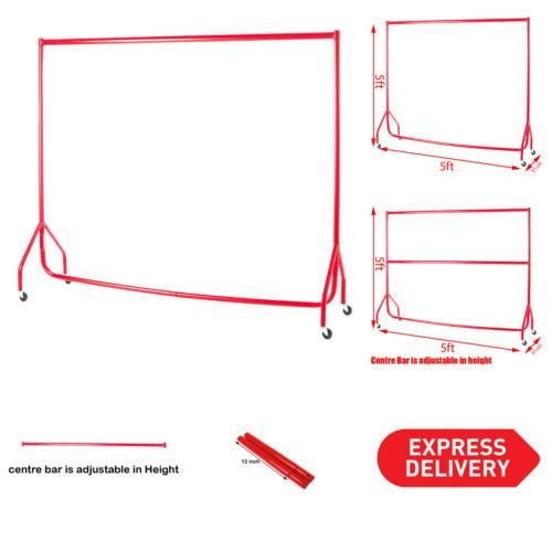 5 FT ca. 1.52 m Alta Heavy Duty Abiti Colore Rosso di larghezza x 5 FT indumento rotaie con barretta centrale ca. 1.52 m