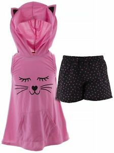 dELiA-s-Girls-Cat-Pink-Black-Character-Face-Hooded-Short-Sleeveless-Pajamas