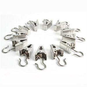 Image Is Loading 20pcs Stainless Steel Window Shower Curtain Rod Clips