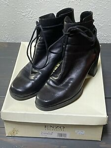 Enzo Angiolini Y-Intrigue Black Softique Leather Ankle Boots Women's SZ 7 M Lace