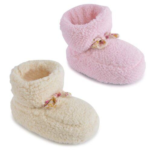 Bambino ragazze rosa o Crema multifunzione in pile morbido Trim Pantofole con scarpine in 7 dimensioni