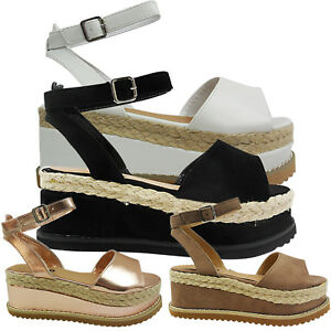 NEW Donna LADIES MID WEDGE scarpe PLATFORM ESPADRILLES ANKLE BUCKLE scarpe WEDGE e39204