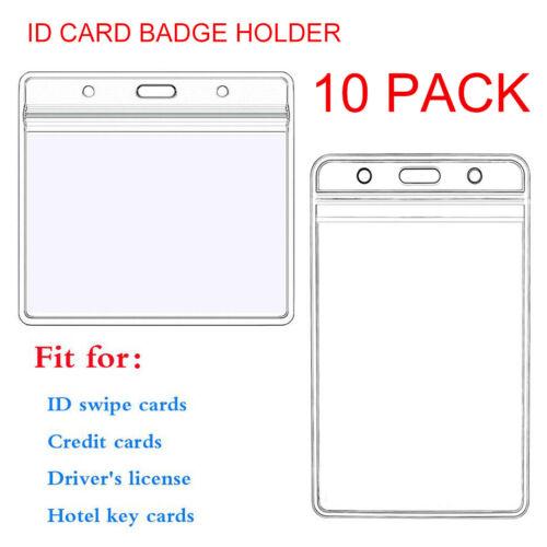 10Pcs Transparent PVC ID Card Badge Business Exhibition Pass Work Permit Holder