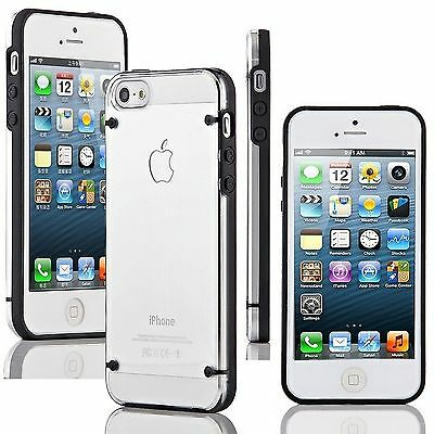 Apple iPhone 5 5s SE (2016) Case Hybrid Ultra Thin Hard Clear TPU Cover Black