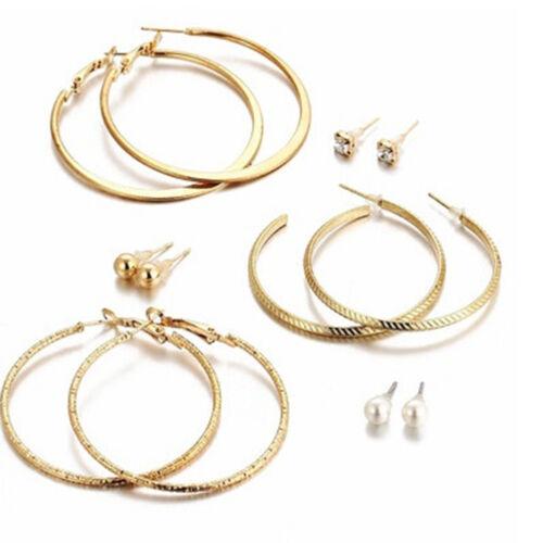 Premium cerceau et clous d/'oreilles 6 Paires Femmes Fashion strass oreille G