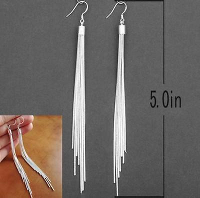 Fashion Jewelry Noble Tassels Design Silver Plated Long Hook Dangle Earrings GOS