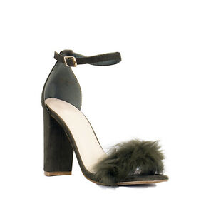 246144cbc5c Womens Ladies Fluffy Faux Fur Strap with Buckle Strap Chunky Block Heel Size