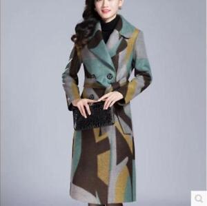 en manteau laine mélange longueur à laine de genou dames Nouvelles en revers manteau double chaud boutonnage xSw1gWqvZI