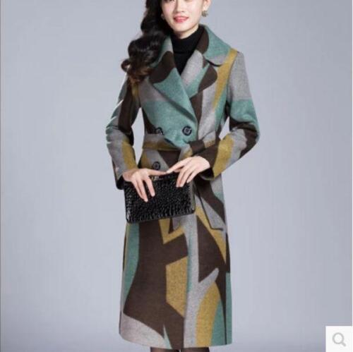 en mélange à de manteau longueur laine revers laine Nouvelles genou chaud manteau en boutonnage double dames H1qICF