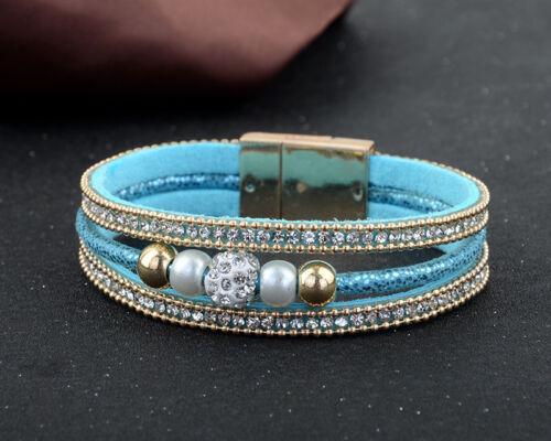 Bracelet à Enrouler Bracelet avec Strass Perles Pendentifs Magnétique Bracelet Cuir Synthétique 1stk