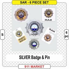 Search & Rescue SILVER 6 pSAR SET sticker K9 and Marine Emergency Badge  G 6pc