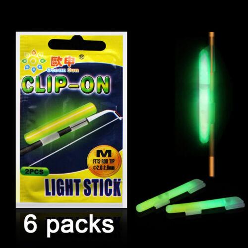 6pack Glow Sticks Sea Carp Fishing Float Fluorescent Rod Tip Night Fish Light