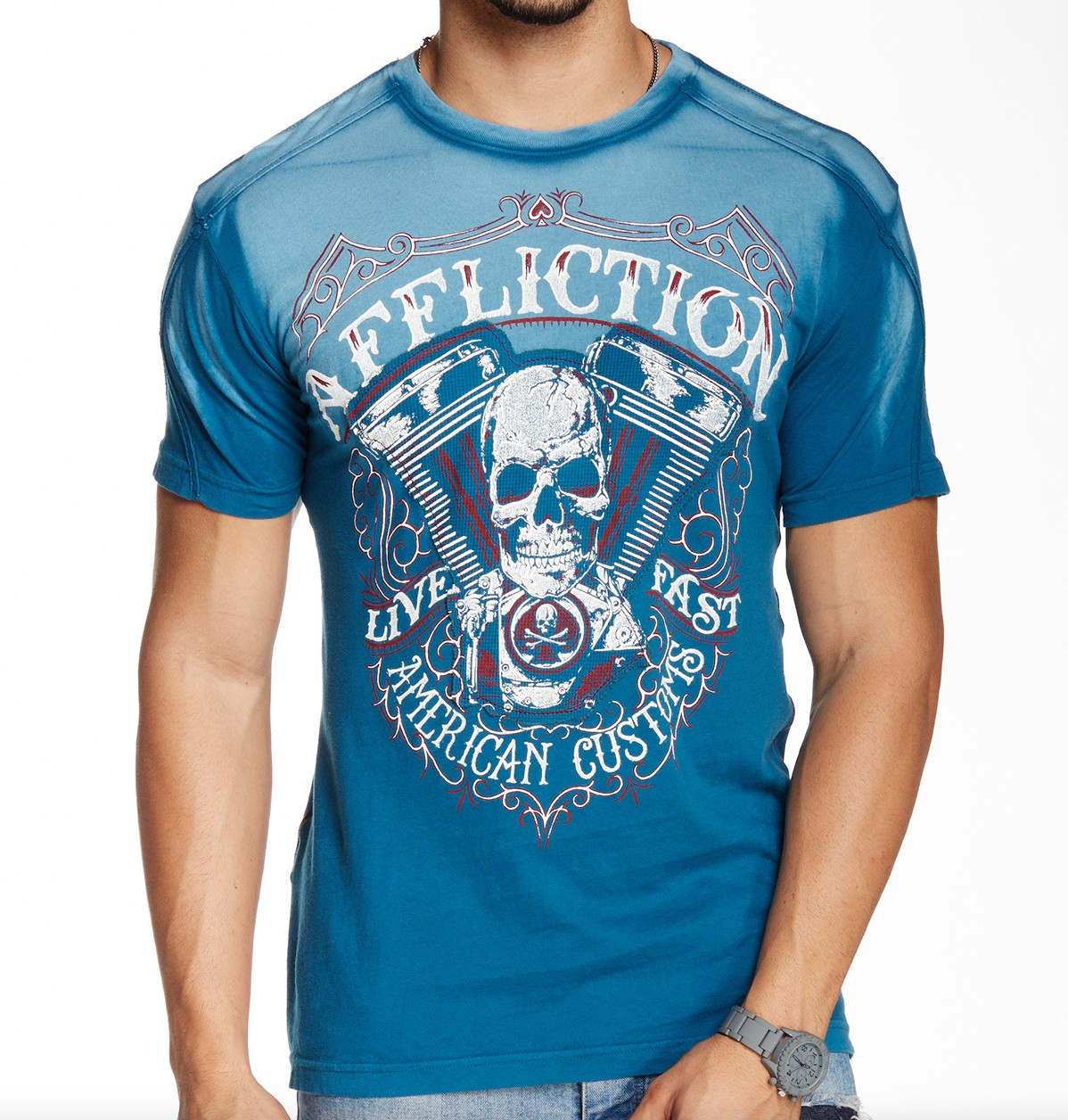 Affliction DEATH EATER A10517 Short Sleeve T-shirt Tee Blau