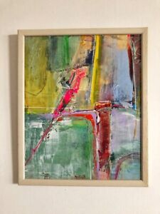 """Original Abstract Acrylic Painting Contemporary 10 x 12"""" Framed Fine Art Signed"""