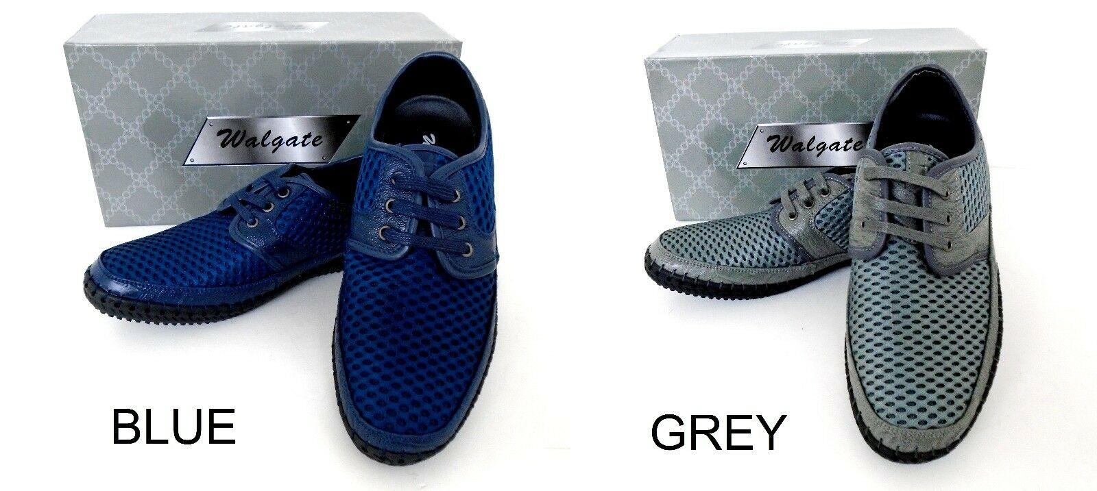 Men's WALGATE Blue sports Grey leather lining sneakers sports Blue mesh casual shoes 8306 06e6bc