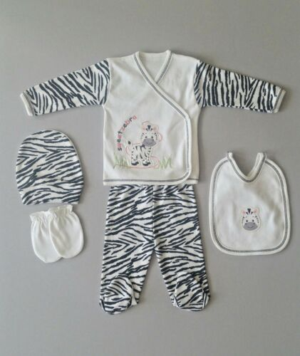 0-4 Monate Zebra Strampler NEU Baby Neuling 5-tlg Geschenk Set Erstling Gr