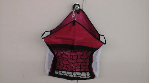 Red nylon horse hay carrier bag w//slow feed net front mesh sides /& bottom