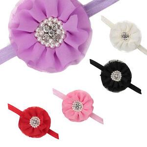 Infant-Girls-Headbands-Rhinestone-Hair-Accessories-Chiffon-Flower-Hair-Band-New